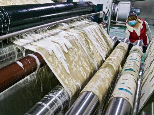 At the Weile Textile factory in China.